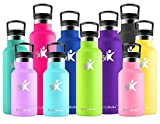 KollyKolla Botella de Agua Acero Inoxidable, Termo Sin BPA Ecológica Reutilizable, Botella Termica con Pajita y Filtro, Water Bottle para Niños & Adultos, Deporte, Oficina, Yoga, (750ml Verde Claro)