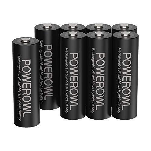 Powerowl単3形充電式ニッケル水素電池8個パック 超大容量 PSE安全認証 自然放電抑制 環境保護(2800mAh、约1200回循環使用可能)
