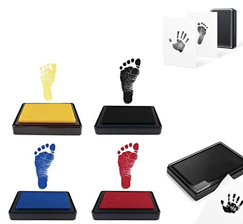 fußabdruck baby stempelkissen.Baby Fuß- oder Hand-Abdruckset Set,Baby Handabdruck Stempelkissen,Hand Fußabdruck-4pcs Kit (schwarz + rot + blau + Gelb)