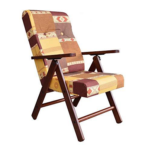 Poltrona Sedia Sdraio in Legno reclinabile 4 Posizioni MOLISANA casa soggiorno (Fantasia)