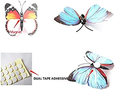 Pindia Set Of 12 Pc Decorative Beautiful Diy 3D Butterfly Removable Pvc Wall Sticker ,White Color