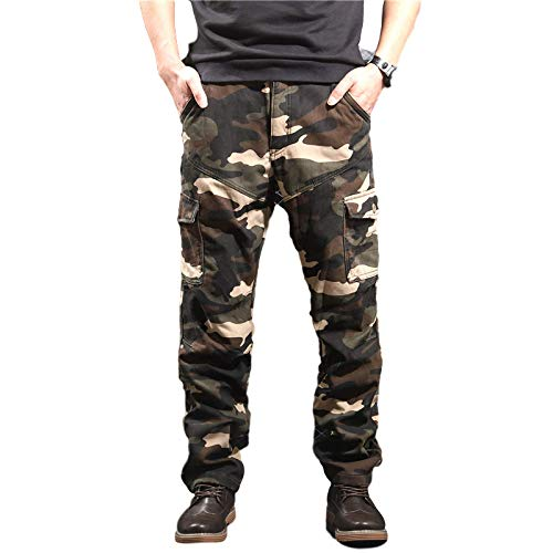 Men's Sports Pants Loose Camouflage Plus Velvet Multi-Pocket Side Stripe 33