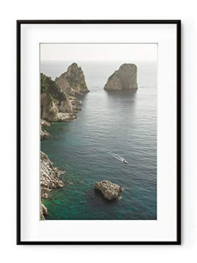 Capri White Varnished Wood Frame with Mount, Multicolored, 50x70