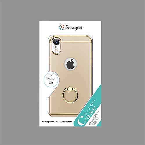 ESegoiiPhoneXRケースリング付き3パーツ式高級感スタンド機能衝撃防止薄型アイフォンXRケース携帯カバーストラップホール付き(iPhoneXR,ゴールド)