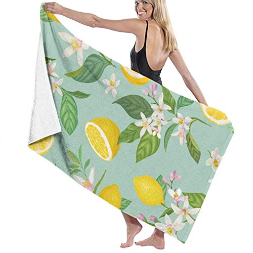 XCNGG Summer Fruit Lemon Floral The Bath Towel Five Star Hotel Quality .Premium Collection Bathroom Towel.Soft,Plush and Highly Absorbent (1 Bath Towel 31x59 Inches)