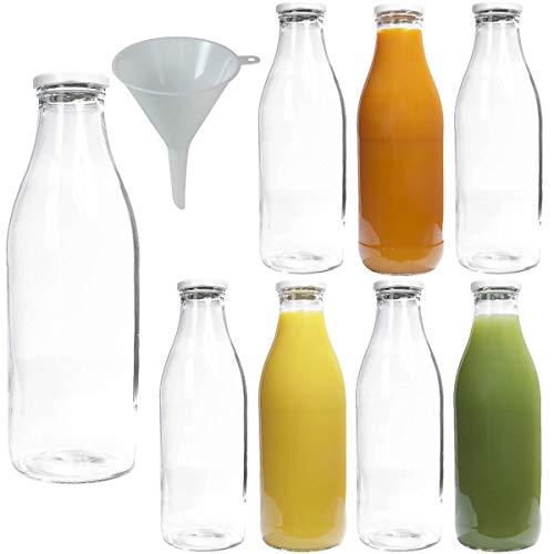 Viva artykuły gospodarstwa domowego - 8 x szklana butelka z szeroką szyjką 1000 ml z białą nakrętką, jako butelka na mleko, sok i butelka smoothie (w zestawie lejek Ø 9 cm)