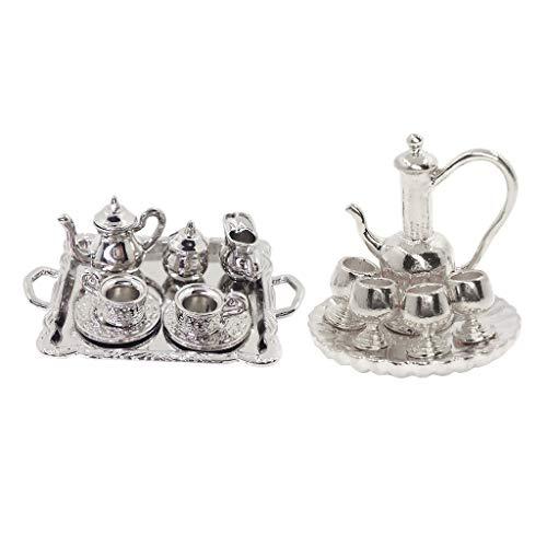 F Fityle 2 Juegos 1:12 Miniaturas de Casa de Muñecas de Metal Plateado Bandeja de Té Y Café Vajilla Decoración