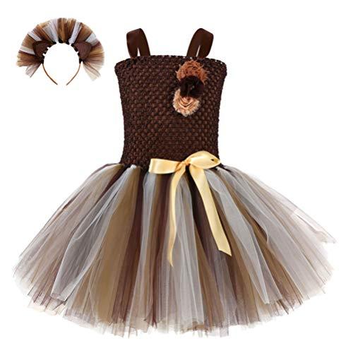 TENDYCOCO Falda de Tutú para Niños con Diadema Vestido de Princesa Animal Disfraz de Cosplay Vestido de Tul Falda Traje Ropa para Cumpleaños Carnaval Banquete Fiesta de Rendimiento S (1-2Y)