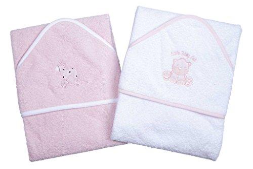Ein Set von zwei Luxus-Kapuzen-Baby Badetücher - 100% Baumwolle in Pink oder Blau mit niedlichen Tier-Applikationen Rosa
