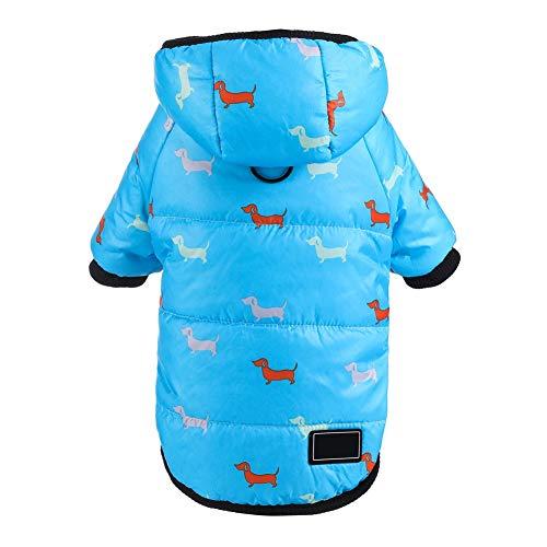 Smilikee Hund Wintermantel für verdicken Baumwolle gepolsterte Hundebekleidung warme Kapuze Kostüm mit Leine Ring Winddicht Schneeanzug kaltem Wetter Haustiere Bekleidung