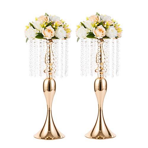 Nuptio 2 Stücke Goldvasen für Mittelstücke, Blumenvasen für Tisch, 54cm Hoch Kristallblumenständer Straße Blei Blumenhalter Herzstück, Hochzeit Mittelstücke Metall Blumenvase für Weihnachtsfeier
