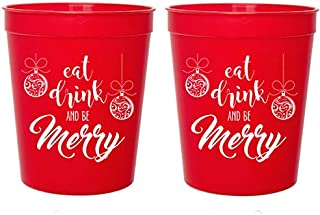 Mandeville Party Company Christmas Red Plastic Stadium Cups - Eat Drink and Be Merry Ornaments (10 Cups)