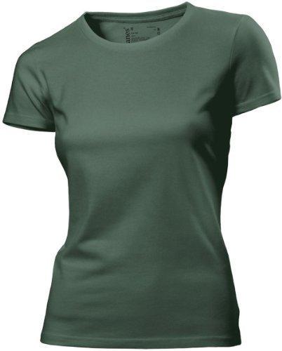 Hanes - T Shirt Femme Uni sans Etiquette Bio sans Logo Manche Courte Vert Khaki Green 16