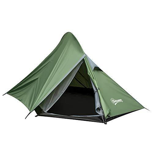 Outsunny Zelt für 2 Personen Campingzelt mit Heringen Glasfaser Polyester Dunkelgrün 345 x 150 x 112 cm