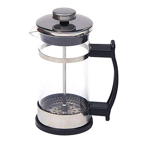 Prensa de café francesa, cafetera exprés y tetera con filtros triples, émbolo de acero inoxidable y vidrio resistente al calor, negro, 12 oz / 350 ml