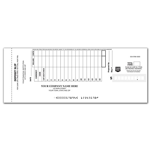 CheckSimple 15-Line Booked Custom Deposit Slips - No Duplicates (150 Slips)