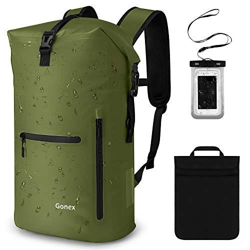 Gonex 35L Wasserdichter Rucksack,Mit Laptophülle + Handytasche, Dry Bag Wasserdichter Packsack, Grün