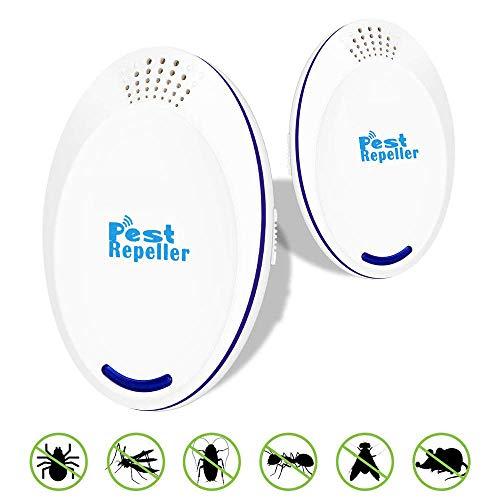 Redmoo Repelente Ultrasonico, 2 Packs Electrónico Repelente Mosquitos Insectos para Interiores Anti Cucarachas, Moscas, Mosquitos, Ratones, Arañas, Inofensivo para Mascotas y Humanos (2 Packs)