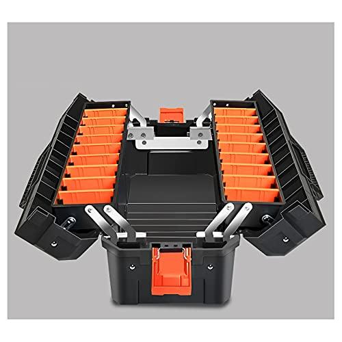 Cassetta porta attrezzi Cassetta portautensili portatile grande scatola di immagazzinaggio di plastica spesso con vassoio organizzatore e divisore pieghevole a doppio tampone Cassetta Porta Utensili