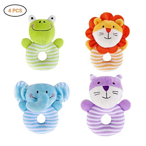 Yissma Baby Plüsch Rassel Spielzeug und Armbänder Handgelenkspielzeug Greiflinge Babyrasseln für Babyspielzeug Plüschtiere Lernspielzeug Baby