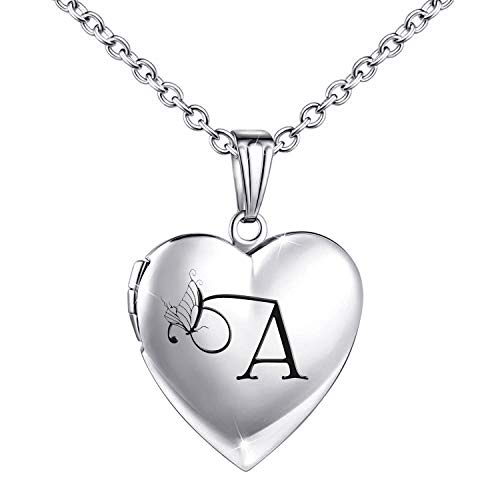 Locket Necklace that Holds Pictures Initial Alphabet Letter Heart Shaped Photo Memory Locket Pendant Necklace (A)