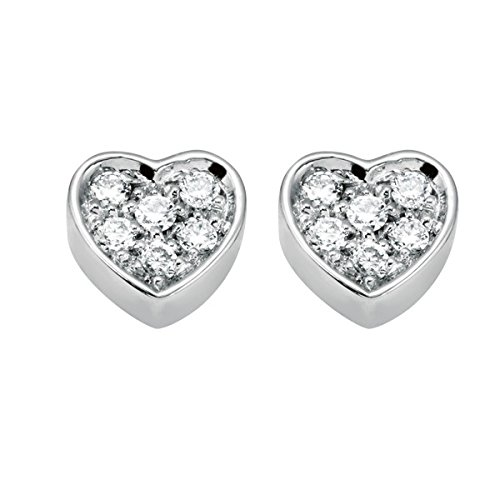 Salvini Be Happy Diamond Heart Earrings 9 Carat White Gold