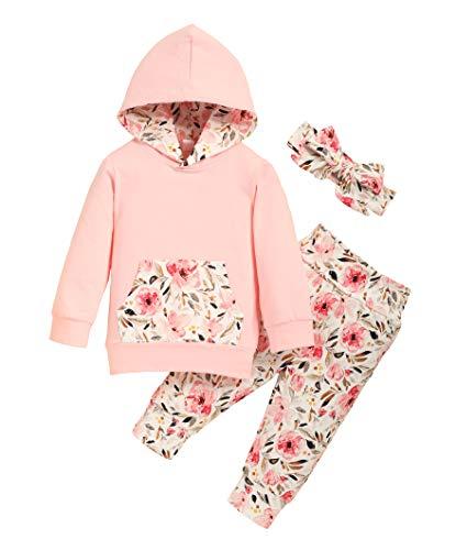 Trajes de niña pequeña Manga Larga con Estampado de chándal con Capucha Mono Tops con Pantalones Casuales Ropa Conjuntos de Diadema 3 Piezas
