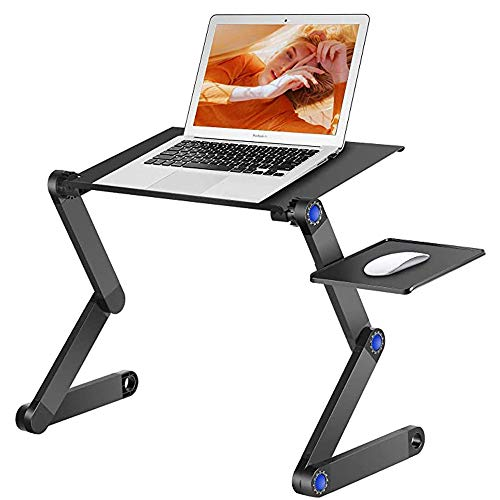 Adjustable laptop stand, foldable aluminum laptop desk, portable laptop bed frame with movable mouse frame and non-slip rod for bed/sofa/desk
