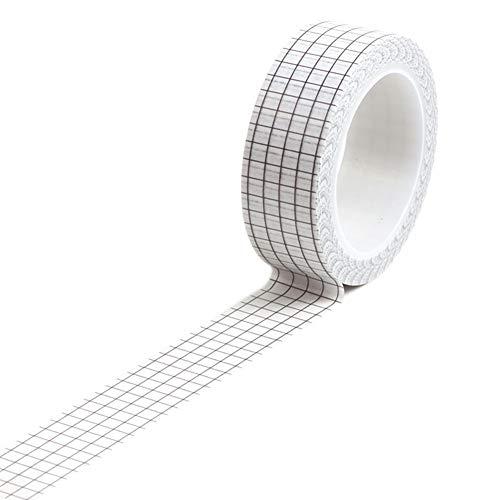 kaakaeu Washi Tape, 10 M DIY Adhesive Grid Masking Tape Planner Scrapbooking Sticker Papeterie Office Home Supplies blanc