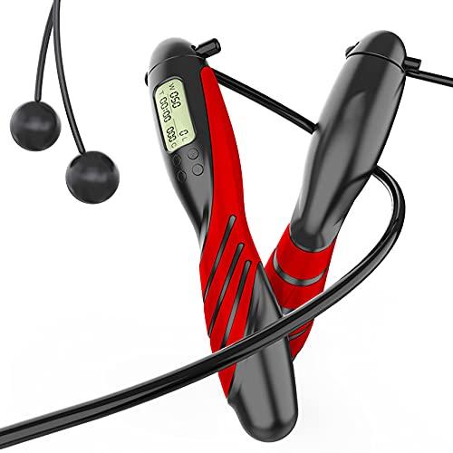 JeoPoom Springseil, Seilspringen Erwachsene, Springseil Digital Zähler Verstellbar, 360° Kugellager Cord & Kalorienzähler für Training, Fitness, Boxen, Abnehmen(Cordless Modus Optional)