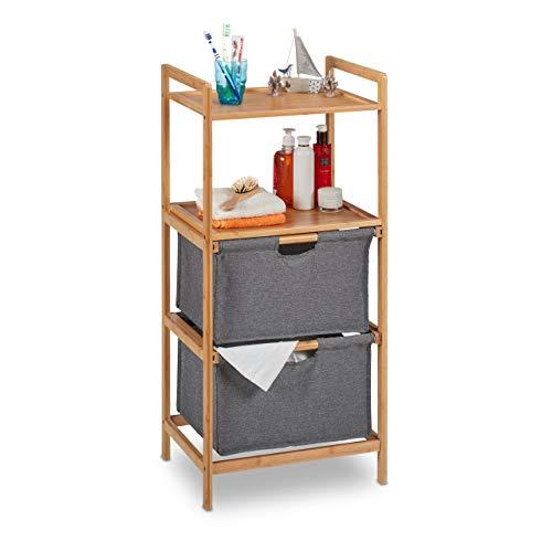 Relaxdays Badregal mit Wäschekorb, 2 Ablagen & 2 Stoffkörbe, Wäschesortierer Bambus, HBT: 96 x 44 x 34 cm, Natur/grau