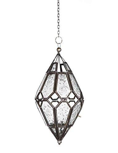 Om op te hangen Indisch/Marokkaans ijzer & glas lantaarn (theelichthouder) Home & Garden verschillende uitvoeringen en maten (kleine Marokkaanse stijl (11 x 11 x 24 cm))
