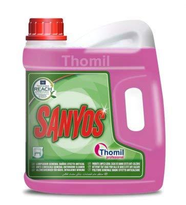 Thomil SANYOS Limpiador General BAÑOS Efecto ANTICAL Limpiador ácido de baños de acción higienizante.Garrafa 4lt