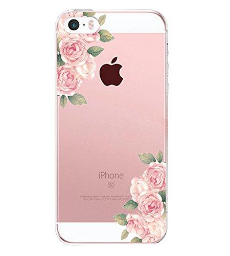 AIsoar iPhone Se Custodia,iPhone 5 iPhone 5S Case,TPU Fiore Rose Design Cover iPhone 5s 5 SE Popolari Orso Gatto Case Anti-Scratch Gel Silicone Custodia per iPhone 5s 5 SE (Fiore 2)
