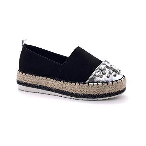 Angkorly - Zapatillas Moda Alpargatas Slip-on Plataforma