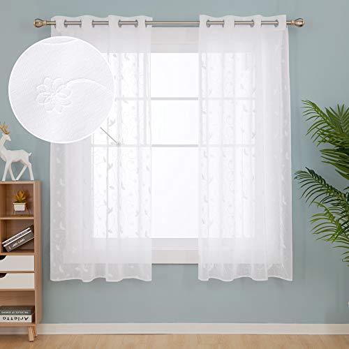 Deconovo Tende Trasparenti in Voile Ricamate per Camera da Letto Moderne con Occhielli 140x180cm Bianco 2 Pannelli