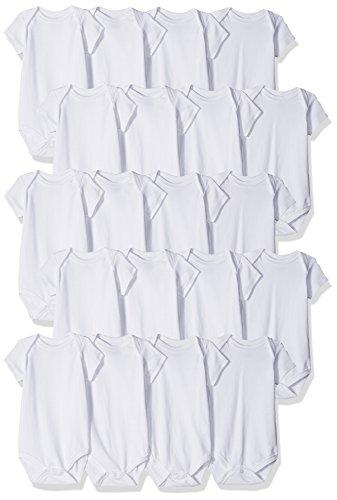Luvable Friends Unisex Baby Cotton Bodysuits, White 20-Pack, 0-12 Months