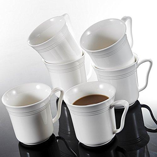 MALACASA, Serie Mario, 6 TLG. Set Kaffeeservice Cremeweiß Porzellan Kaffeetasse Tassen 4,75 Zoll / 12,5 * 10 * 9,5cm / 380ml Becher Teetasse Kaffeebecher-Set Bechersets für 6 Personen