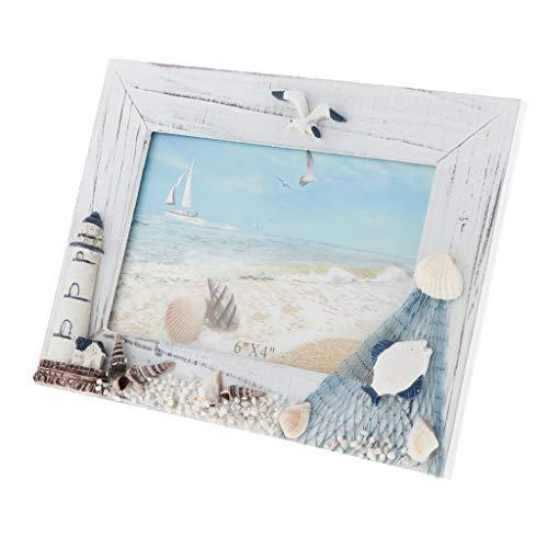 Fenteer Foto di Legno Photo Frame Famiglia Wedding Photo Holder per La Casa Wedding Beach Hut Cottage...