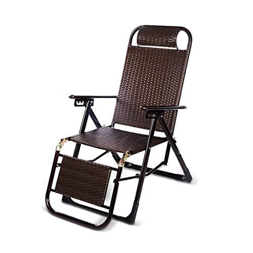 BSJZ Sillones reclinables Plegables Silla Plegable Sillas relajantes reclinables Sillón reclinable de Mimbre de Gravedad Cero Ajuste multiposición Resistencia a la g
