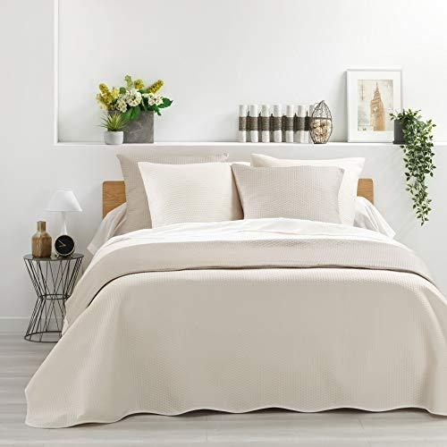 Douceur de Interieur MEYLINE Tagesdecke für Doppelbett + 2 Kissenhüllen 60 x 60 cm, Natur, 220 x 240 cm