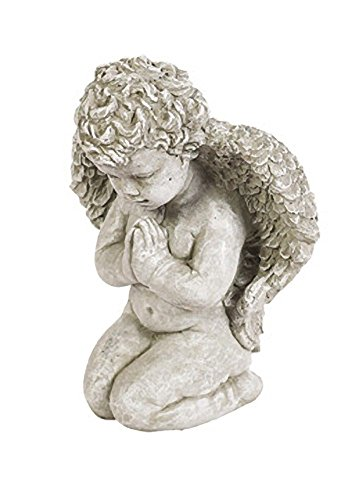 Solid Rock Stoneworks Praying Angel Stone Statue 13in Tall Marble Tone Color