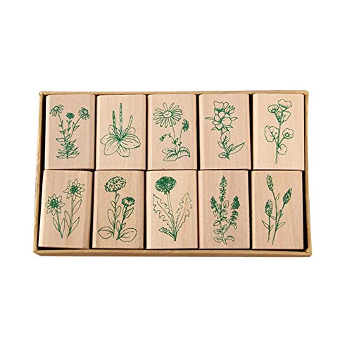 CALIDAKA 10pcs/Set Wood Mounted Rubber Stamps, Plant and Flower Decorative Wooden Rubber Stamp Set, DIY Card Making Diary Wood Stamps Set for Letters Craft Scrapbooking