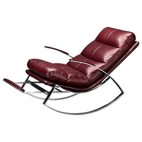 Yankuoo Recreatiestoel, 304 roestvrijstalen schommelstoel, super gestoffeerde ligstoel met voetenbank, verstelbare voetenbank, geschikt voor slaapkamer/woonkamer/kantoor