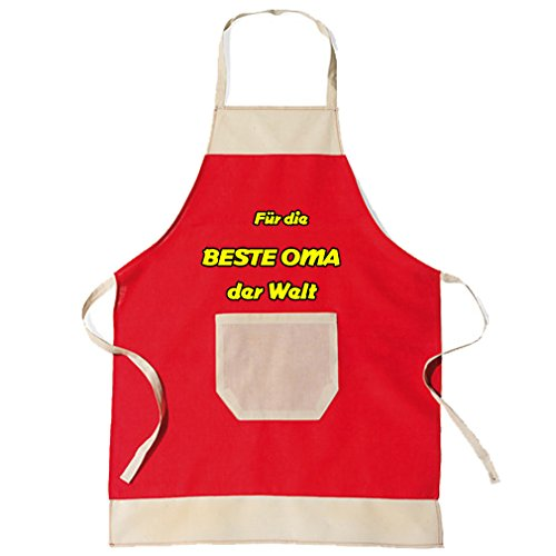 SHIRT-TO-GO BBQ Grillschürze & Küchenschürze in rot Beste Oma der Welt als Geschenkidee