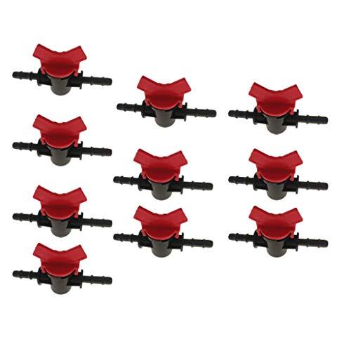 10 Stk. Kunststoff Mini Absperrhahn Wasserhahn Kugelhahn, Schlauchanschluss 4mm / 8mm