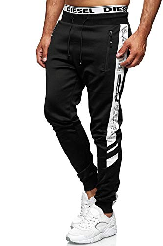 C-iN-C Herren Jogginghose Sporthose Trainingshose Sports Hose Fitness Modell 1421 (schwarz mit Weiß, M)