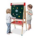 Caballete de madera para niños, pizarra y pizarra blanca de doble cara, con rollo de papel y bolsas de almacenamiento múltiples para niños y niños pequeños, regalo educativo juguete para niños y niñas