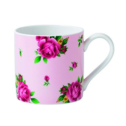 Royal Albert New Country Roses Tasse, Weiß/Pink, 12,7 cm hoch, Rosa und Weiß mit einem Blumendruck