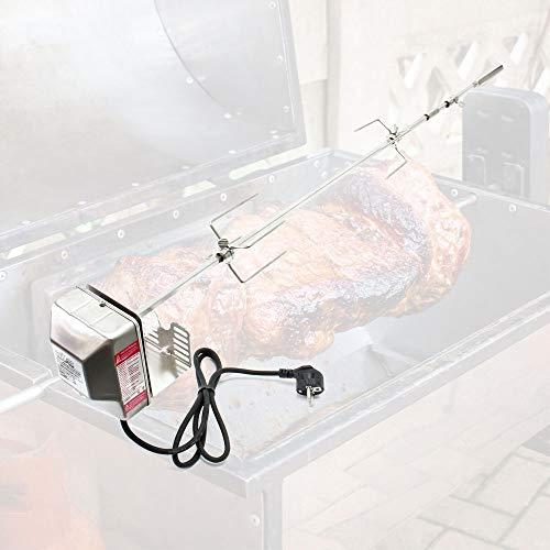 WilTec Pincho BBQ Grill 97cm Acero Inoxidable con 2 Agujas de Carne Pincho Giratorio Brocheta Parrilla